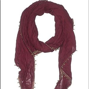 Lucky brand viscose burgundy and gold long scarf